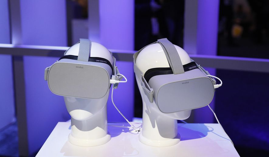 Oculus VR headsets are on display at CES International, Tuesday, Jan. 8, 2019, in Las Vegas. (AP Photo/John Locher)
