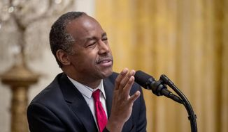 In this Oct. 26, 2018, file photo, Housing and Urban Development Secretary Ben Carson speaks at the 2018 Young Black Leadership Summit at the White House in Washington. (AP Photo/Andrew Harnik, File)