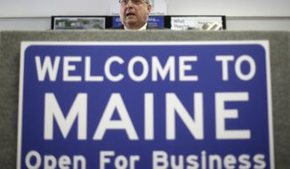 "FILE - In this March 10, 2014, file photo, Maine Gov. Paul LePage speaks at a news conference where he touted his ""Open for Business"" zone proposal in Brunswick, Maine. The state is moving forward with plans to replace its ""Open for Business"" highway sign with one that reads, ""Welcome Home."" Maine Turnpike Authority Executive Director Peter Mills, who is also a brother of Gov. Janet Mills, said Wednesday, Jan. 9, 2019, that Maine is designing a replacement for the sign that greets drivers entering the state on the Maine turnpike in Kittery. He said it will take roughly three weeks to replace the old sign once a new design is finalized. (AP Photo/Robert F. Bukaty, File)"