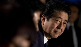 Japan's Prime Minister Shinzo Abe looks up during a delegation meeting with Dutch Prime Minister Mark Rutte during a boat tour of the harbor of Rotterdam, Netherlands, Wednesday, Jan. 9, 2019. The leaders are expected to discuss issues including the June G-20 summit in Osaka, trade and Brexit, the impending departure of Britain from the European Union. (AP Photo/Peter Dejong)