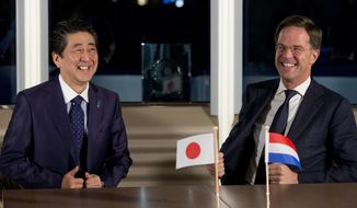 Japan's Prime Minister Shinzo Abe, left, and Dutch Prime Minister Mark Rutte react at the top of a meeting during a boat tour of the harbor of Rotterdam, Netherlands, Wednesday, Jan. 9, 2019. The leaders are expected to discuss issues including the June G-20 summit in Osaka, trade and Brexit, the impending departure of Britain from the European Union. (AP Photo/Peter Dejong)