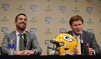 Green Bay Packers President and CEO Mark Murphy introduces head coach Matt LaFleur at a news conference Wednesday, Jan. 9, 2019, in Green Bay, Wis. (AP Photo/Morry Gash)