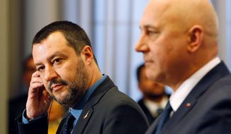 Italian Interior Minister Matteo Salvini, left, and his Polish counterpart Joachim Brudzinski, right, address the media following their talks in Warsaw, Poland, Wednesday, Jan. 9, 2019. Salvini's visit is seen as sounding out a possible alliance with Poland's ruling EU-skeptic party ahead of spring elections for the European Parliament. (AP Photo/Czarek Sokolowski)