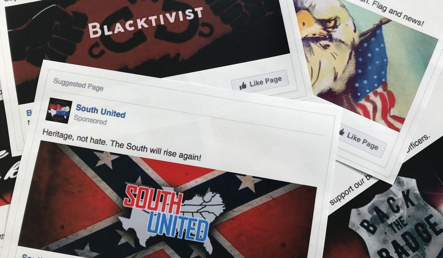 This Nov. 1, 2017, file photo shows prints of some of the Facebook ads linked to a Russian effort to disrupt the American political process and stir up tensions around divisive social issues, released by members of the U.S. House Intelligence Committee, in Washington. According to a study published Wednesday, Jan. 9, 2019, in Science Advances, people older than 65 and conservatives shared far more false information in 2016 on Facebook than others. (AP Photo/Jon Elswick, File)