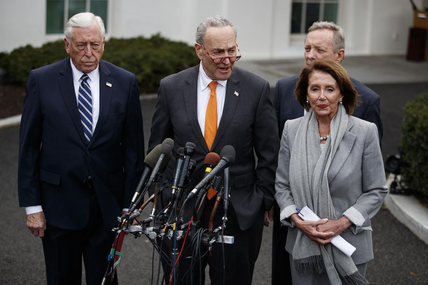 Senate Minority Leader Sen. Chuck Schumer of N.Y., talks with reporters after a meeting with President Donald Trump on border security in the Situation Room of the White House, Wednesday, Jan. 9, 2019, in Washington. From left, House Majority Leader Steny Hoyer of Md., Senate Minority Whip Dick Durbin of Ill., and Speaker of the House Nancy Pelosi of Calif.(AP Photo/ Evan Vucci)