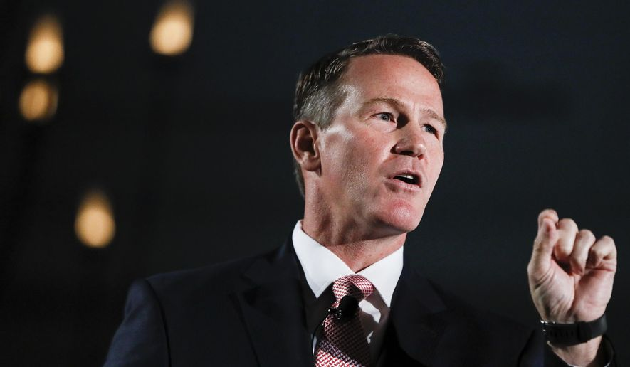 """This Tuesday, Oct. 16, 2018 file photo shows Secretary of State Jon Husted speaking at the Columbus Chamber of Commerce Government Day in Cincinnati, Ohio. Husted said Wednesday, Jan. 9, 2019 that more than 275,000 inactive Ohio voters are about to get their final opportunity to keep from dropping off the rolls. Ohio's procedure for maintaining its voter rolls is considered one of the most stringent in the nation, because it employs a """"supplemental process"""" that has led to the removal of thousands of people who failed to vote and then didn't respond to government requests to affirm their registrations. (AP Photo/John Minchillo)"""