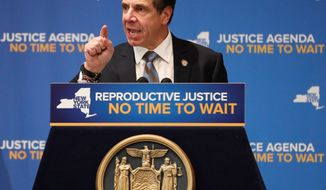 New York Gov. Andrew Cuomo is expected to sign State Bill S240, which adds a broad health exception to the state's ban on third-trimester procedures. (ASSOCIATED PRESS)