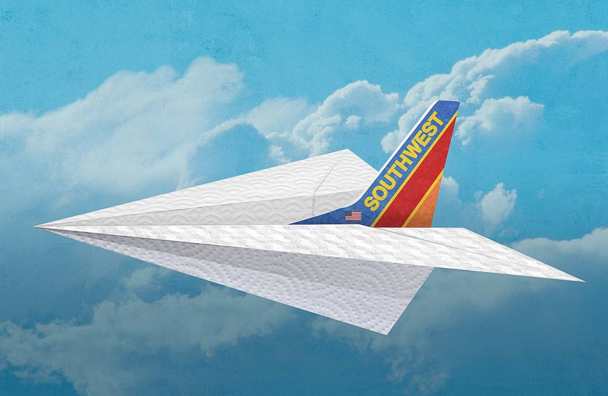 Southwest's Paper Airplane Illustration by Greg Groesch/The Washington Times