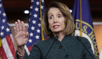"House Speaker Nancy Pelosi said Democrats are telling Republicans to ""take yes for an answer"" by passing the Senate bills approved last year. (Associated Press/File)"