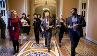 Sen. Lindsey Graham, R-S.C., walks to a meeting with Senate Republicans at the office of Senate Majority Leader Mitch McConnell on Capitol Hill in Washington, Thursday, Jan. 10, 2019. (AP Photo/Andrew Harnik)