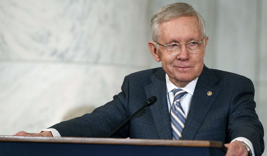 Then-Sen. Harry Reid, D-Nev., speaks during a ceremony on Capitol Hill in Washington. (AP Photo/Evan Vucci, File)