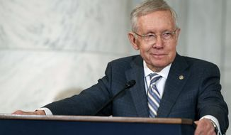 Then Sen. Harry Reid, D-Nev., speaks during a ceremony on Capitol Hill in Washington. (AP Photo/Evan Vucci, File)