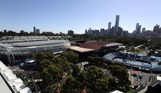 FILE - This Jan. 26, 2017, file photo shows a general view of Melbourne Park, where the Australian Open tennis championships is taking place, in Melbourne, Australia. See how much you know about the Australian Open by taking the AP's quiz about the year's first Grand Slam tennis tournament. (AP Photo/Aaron Favila, File)