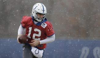 Indianapolis Colts quarterback Andrew Luck runs a drill during practice at the NFL football team's facility, Wednesday, Jan. 9, 2019, in Indianapolis. The Colts will play Kansas City in a AFC divisional round game on Saturday. (AP Photo/Darron Cummings)