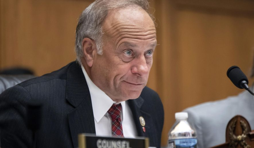 In this June 8, 2018, photo, Rep. Steve King, Iowa Republican, attends a hearing on Capitol Hill in Washington. (Associated Press) **FILE**