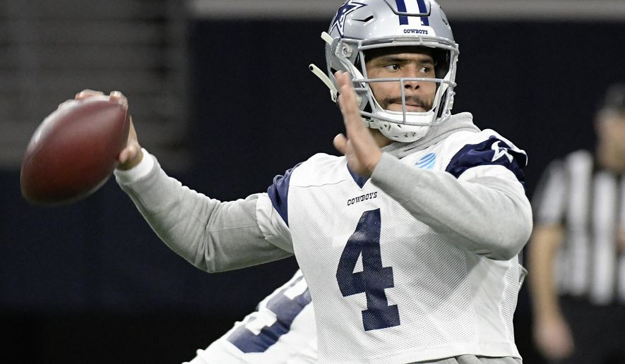 Dallas Cowboys quarterback Dak Prescott (4) drops back to pass during practice, Thursday, Jan. 10, 2018 in Frisco, Texas. The Dallas Cowboys play the Los Angeles Rams on Saturday. (Max Faulker/Star-Telegram via AP)