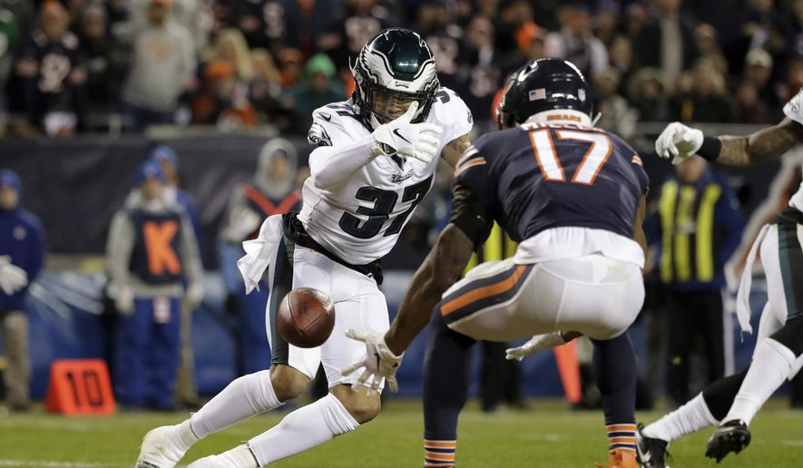 FILE - In this Jan. 6, 2019, file photo, Chicago Bears wide receiver Anthony Miller (17) misses a catch under pressure from Philadelphia Eagles defensive back Tre Sullivan (37) during the first half of an NFL wild-card playoff football game, in Chicago. When injuries ravaged the secondary, the Philadelphia Eagles turned to inexperienced guys and castoffs. The no-names are making themselves known.(AP Photo/Nam Y. Huh, File) **FILE**