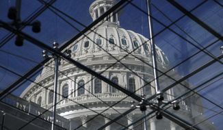 The Capitol Dome is seen through a skylight in the Capitol Visitors Center on the 20th day of a partial government shutdown, in Washington, Thursday, Jan. 10, 2019. (AP Photo/J. Scott Applewhite)