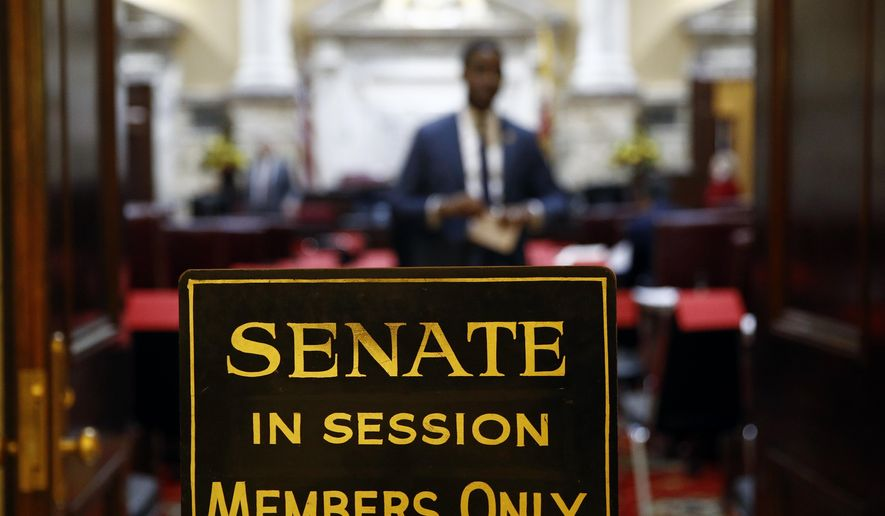 In this Wednesday, Jan. 9, 2019 file photo, a sign stands outside an entrance to the Maryland State Senate chamber in Annapolis, Md., on the first day of the state's 2019 legislative session.  (AP Photo/Patrick Semansky) **FILE**