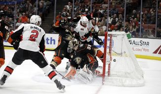 Ottawa Senators' Bobby Ryan (9) scores past Anaheim Ducks goaltender John Gibson (36) during the third period of an NHL hockey game Wednesday, Jan. 9, 2019, in Anaheim, Calif. (AP Photo/Marcio Jose Sanchez)