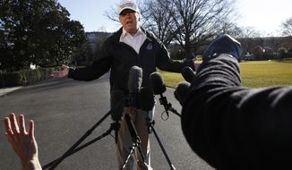 President Donald Trump gestures as reporters raise their hands while he speaks to the media on the South Lawn of the White House, Thursday Jan. 10, 2019, in Washington, en route for a trip to the border in Texas as the government shutdown continues. (AP Photo/Jacquelyn Martin)