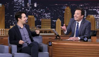 "This Oct. 4, 2016, file image released by NBC shows Lin-Manuel Miranda during an interview with host Jimmy Fallon on ""The Tonight Show Starring Jimmy Fallon,"" in New York. (Andrew Lipovsky/NBCU Photo Bank via AP)"