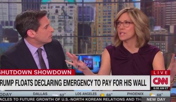 "CNN's anchor Alisyn Camerota asks how Democrats can say they are attempting to negotiate with President Trump in good faith when they refused to give a counteroffer during a meeting this week. ""If you say that you believe in border security, and the president wants border security, surely there's a compromise,"" she said Jan. 11, 2019. (Image: CNN screenshot)"