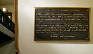 This Aug. 17, 2017 file photo shows, The Children of the Confederacy Creed plaque at the Capitol in Austin, Texas, on Thursday August 17, 2017. (Jay Janner/Austin American-Statesman via AP, File)