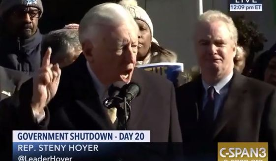 House Majority Leader Steny Hoyer likens government employees who work during the shutdown to slaves, Jan. 10, 2019. (Image: C-SPAN3 screenshot)