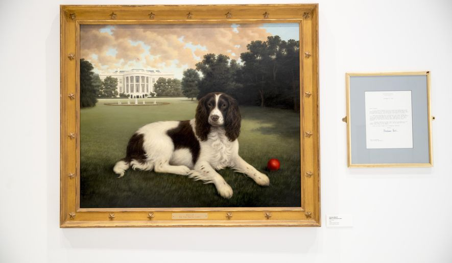 "This Wednesday, Jan. 9, 2019, photo shows ""Millie on the South Lawn"" by Christine Merrill, alongside a letter from former first lady Barbara Bush on display at the American Kennel Club Museum of the Dog in New York. The museum opens Feb. 8 in midtown Manhattan.  (AP Photo/Mary Altaffer)"
