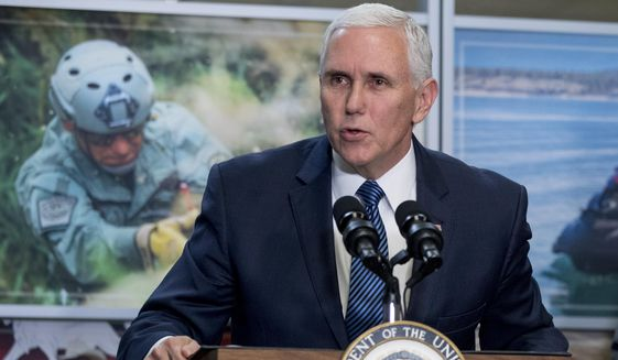 Vice President Mike Pence speaks to U.S. Customs and Border Protection employees at their headquarters in Washington, Friday, Jan. 11, 2019. (AP Photo/Andrew Harnik)