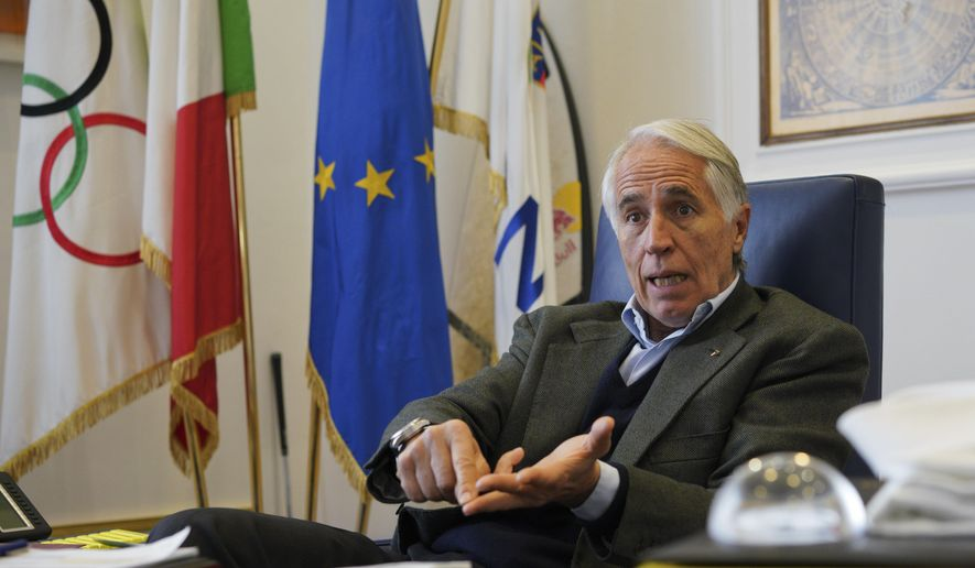 President of the Italian National Olympic Committee, CONI, Giovanni Malago' talks during an interview with The Associated Press, in Rome, Friday, Jan. 11, 2019. With soaring costs, declining interest and a general lack of bids _ especially for the Winter Games _ the Milan-Cortina candidacy takes advantage of the more flexible rules provided by Agenda 2020. (AP Photo/Andrew Medichini)