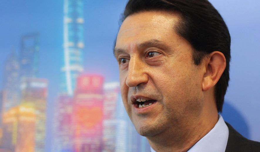 FILE - In this Sept. 12, 2018, file photo, Jose Munoz, then head of Nissan's China operations, speaks during an interview in Shanghai. Nissan Chief Performance Officer Munoz, who took a leave of absence a week ago, is leaving, the first high-profile departure at the Japanese automaker publicly acknowledged as related to the arrest of former Chairman Carlos Ghosn, Munoz said in a statement on Saturday, Jan. 12, 2019. (AP Photo, File)