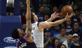 Dallas Mavericks' J.J. Barea, right, prepares to lay up as Minnesota Timberwolves' Jeff Teague defends in the first half of an NBA basketball game Friday, Jan. 11, 2019, in Minneapolis. (AP Photo/Jim Mone)