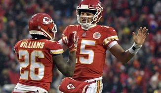 Kansas City Chiefs quarterback Patrick Mahomes (15) celebrates a touchdown with running back Damien Williams (26) during the first half of an NFL divisional football playoff game against the Indianapolis Colts in Kansas City, Mo., Saturday, Jan. 12, 2019. (AP Photo/Ed Zurga)