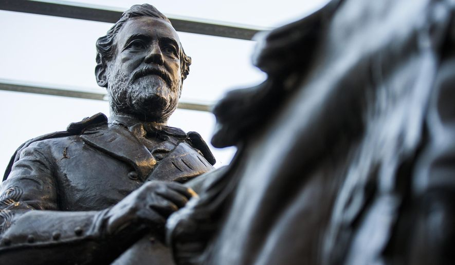 Alexander Phimister Proctor's statue of Robert E. Lee is shown in this file photo.  (Ashley Landis/The Dallas Morning News via AP) **FILE**
