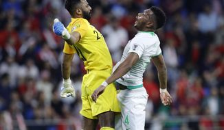 Saudi Arabia's defender Ali Albulayhi, right, celebrates with his goalkeeper Mohammed Al-Owais, left, after their teammate Fahad Al Muwallad scores the opening goal, during the AFC Asian Cup group E soccer match between Lebanon and Saudi Arabia at Al Maktoum Stadium in Dubai, United Arab Emirates, Saturday, Jan. 12, 2019. (AP Photo/Hassan Ammar)