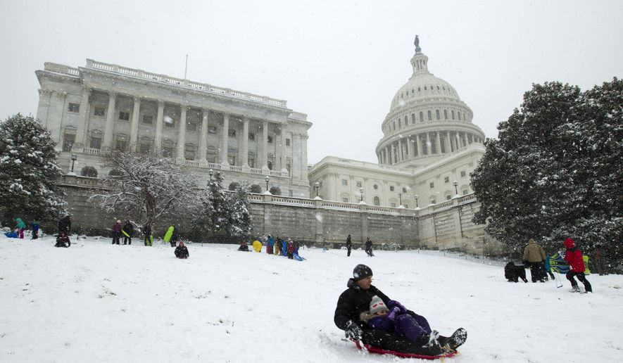 Families sled down a hill on the Senate side of the U.S. Capitol during a snowstorm, as a partial government shutdown stretches into its third week at Capitol Hill in Washington Sunday, Jan. 13, 2019. (AP Photo/Jose Luis Magana)
