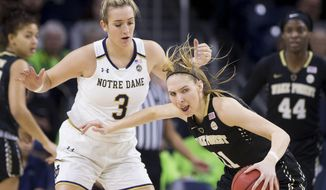 Wake Forest's Ivana Raca (11) moves by Notre Dame's Marina Mabrey (3) during the first half of an NCAA college basketball game Sunday, Jan. 13, 2019, in South Bend, Ind. (AP Photo/Robert Franklin)