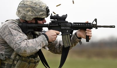 M$ Carbine - Senior Airman Benton Pohlman, a 180th Fighter Wing security forces specialist, Ohio Air National Guard, fires an M4 carbine rifle during target practice April 12, 2017, at the Fort Custer Training Center in Battle Creek, Mich. Weapons training allows Airmen to provide protection of the homeland and effective combat power to their combatant commander. (U.S. Air National Guard photo/Staff Sgt. Shane Hughes)