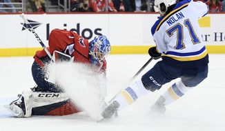 Washington Capitals goaltender Pheonix Copley (1) gets sprayed by St. Louis Blues center Jordan Nolan (71) during the first period of an NHL hockey game, Monday, Jan. 14, 2019, in Washington. (AP Photo/Nick Wass)