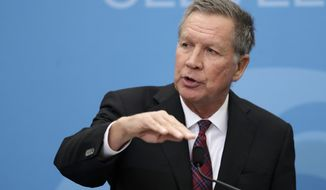 Then Ohio Gov. John Kasich speaks at The City Club of Cleveland, in Cleveland.  Kasich, now Ohios ex-governor, has landed himself a talent agent as the potential 2020 presidential candidates contemplates his future.  (AP Photo/Tony Dejak)