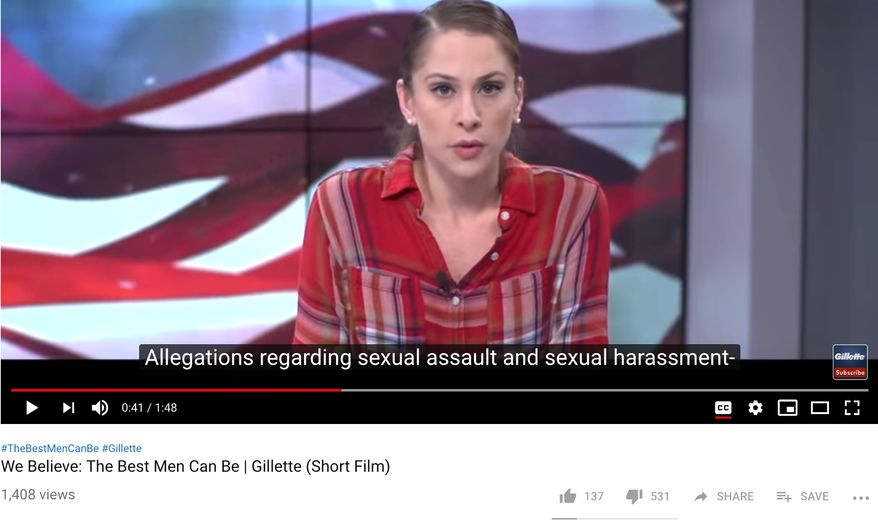 "Gillette's ""We Believe: The Best Men Can Be"" is billed as a ""short film"" that encourages men to contemplate ""toxic masculinity,"" ""bullying"" and other concerns tied to the #MeToo movement. (Image: YouTube, Gillette video screenshot)"