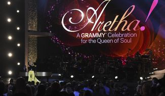 """Celine Dion performs at the """"Aretha! A Grammy Celebration For The Queen Of Soul"""" event at the Shrine Auditorium on Sunday, January 13, 2019, in Los Angeles. The special is set to air on March 10, 2019. (Photo by Richard Shotwell/Invision/AP)"""