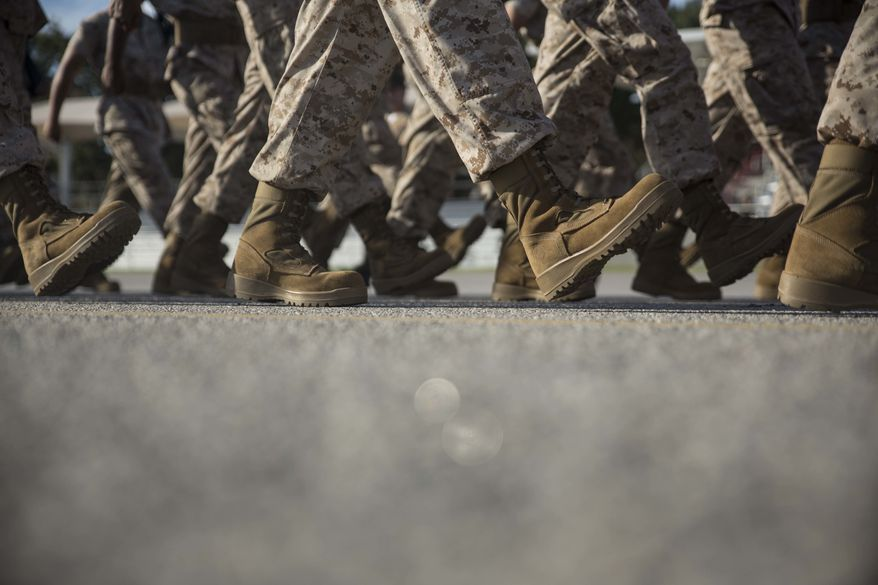 U.S. Marine Corps recruits of Alpha Company, 1st Recruit Training Battalion, begin marching during a final drill evaluation Aug. 2, 2017, on Parris Island, S.C. The strict, particular nature of close-order drill reinforces discipline and fosters unit cohesion. Alpha Company is scheduled to graduate Aug. 11, 2017. Parris Island has been the site of Marine Corps recruit training since Nov. 1, 1915. Today, approximately 19,000 recruits come to Parris Island annually for the chance to become United States Marines by enduring 12 weeks of rigorous, transformative training. Parris Island is home to entry-level enlisted training for approximately 49 percent of male recruits and 100 percent of female recruits in the Marine Corps. (U.S. Marine Corps photo by Lance Cpl. Maximiliano Bavastro)
