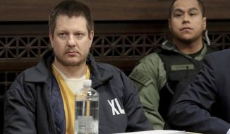 FILE - in this Dec. 14, 2018, file photo, former Chicago police Officer Jason Van Dyke, left, appears for a hearing at the Leighton Criminal Court Building, in Chicago. Attorneys in the case of the former Chicago police officer convicted of second-degree murder and 16 counts of aggravated battery in the 2014 shooting death of black teenager Laquan McDonald are making their final arguments to a judge who will impose the sentence the week of Jan. 14, 2019. (Antonio Perez/Chicago Tribune via AP, Pool, File)