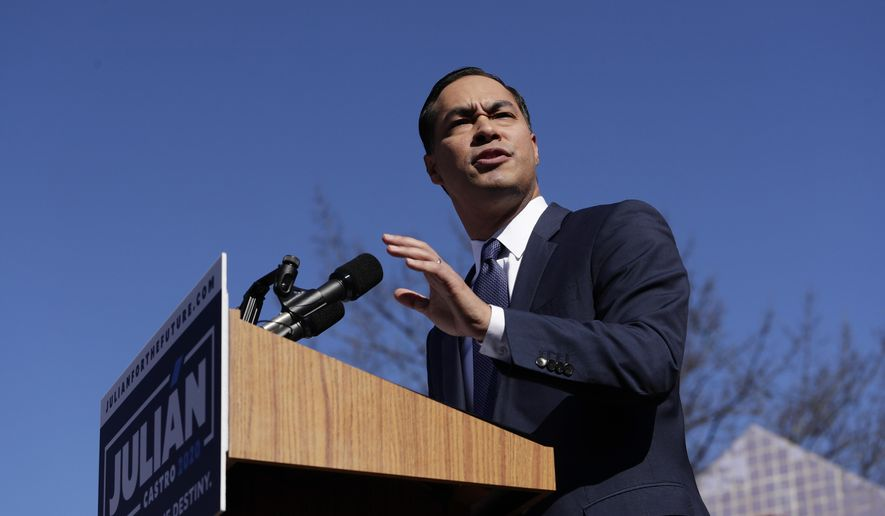 Former San Antonio Mayor and Housing and Urban Development Secretary Julian Castro speaks during an event where he announced his decision to seek the 2020 Democratic presidential nomination, Saturday, Jan. 12, 2019, in San Antonio. (AP Photo/Eric Gay) **FILE**