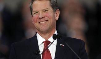 Gov. Brian Kemp speaks after being sworn in as Georgia's governor during a ceremony at Georgia Tech's McCamish Pavilion, Monday, Jan. 14, 2019, in Atlanta. (AP Photo/John Bazemore)