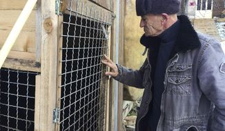 In this Monday, Jan. 7, 2019 photo, former Kosovo Liberation Army fighter Sabahajdin Cena looks at his dog's kennel, in the town of Rahovec. Two decades after Kosovo's 1998-99 war of independence, a court in The Hague has summoned a small group of former freedom fighters for questioning about their roles in the bloody campaign. Cena was a top former fighter in Pashtrik area, 80 kilometers (50 miles) west of the capital, Pristina, during the war. (AP Photo/Visar Kryeziu)