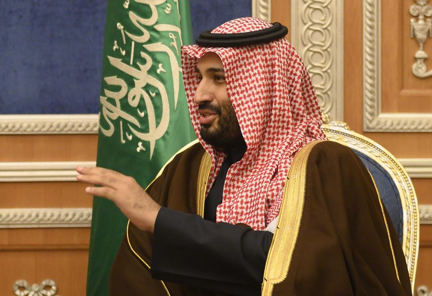 Saudi Crown Prince Mohammed bin Salman, meets with U.S. Secretary of State Mike Pompeo at the Royal Court, in Riyadh, in this Monday, Jan. 14, 2019, file photo. (Andrew Cabellero-Reynolds/Pool via AP) ** FILE **